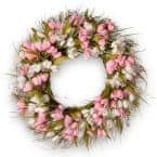 22 in. Pink and White Tulip Wreath