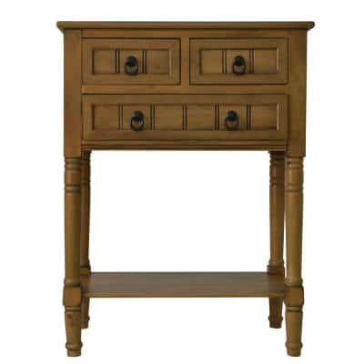 24 in. Honey Pine Standard Rectangle Wood Console Table with Drawers