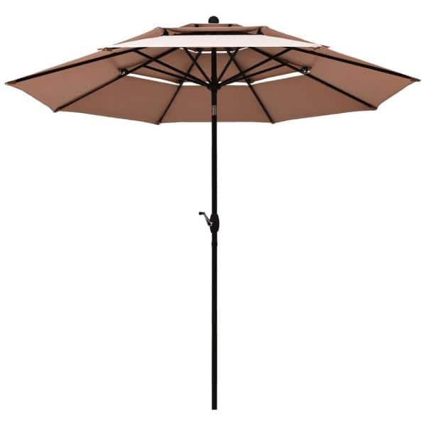 Green 10ft 3 Tiers Patio Umbrella With, Large Patio Umbrellas With Lights