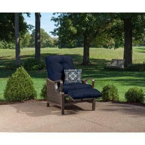 Ventura All-Weather Wicker Reclining Patio Lounge Chair with Navy Blue Cushion