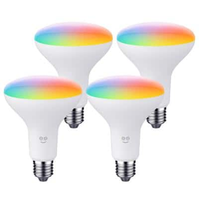 65-Watt Equivalent Prisma Plus Drop BR30 Multi-color Dimmable and Tunable Wi-Fi Smart LED Light Bulb 2700K-6500 (4-Pack)