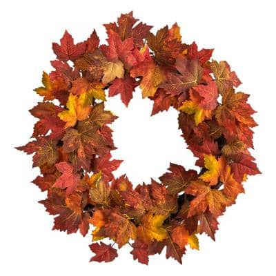 22 in. Orange Maple Leaf Artificial Wreath