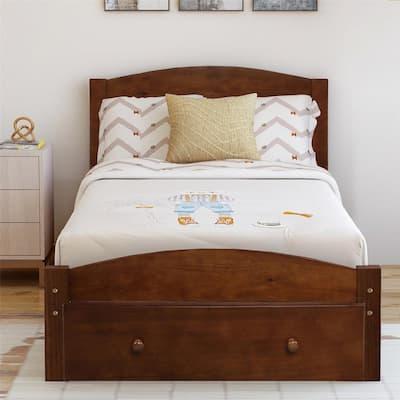 Walnut Wood Platform Headboard and Footboard Twin Bed Frame with Storage Drawer