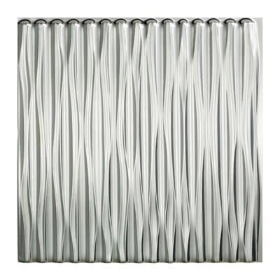 Dunes Vertical 2 ft. x 2 ft. Glue Up Vinyl Ceiling Tile in Brushed Aluminum (20 sq. ft.)