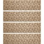 Dogwood Leaf 8.5 in. x 30 in. Stair Treads (Set of 4) Camel