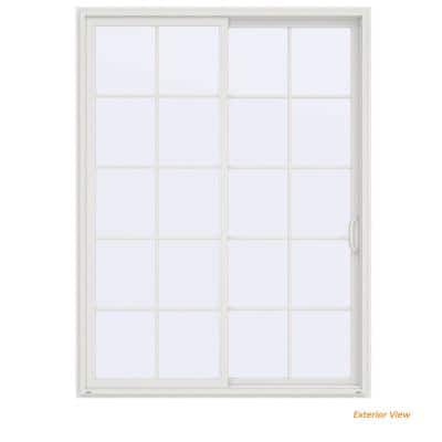 72 in. x 96 in. V-4500 Contemporary White Vinyl Right-Hand 10 Lite Sliding Patio Door