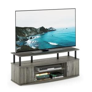 JAYA 47 in. Columbia Walnut and Black Wood TV Stand Fits TVs Up to 50 in. with Cable Management