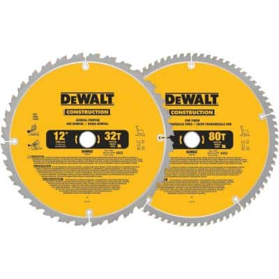 12 in. Miter Saw Blade 32-Teeth and 80-Teeth (2-Pack)
