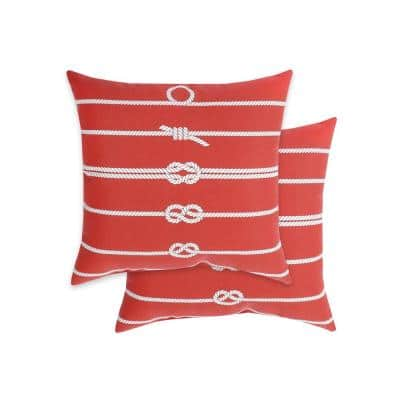 Rope Pillow Chili Square Outdoor Throw Pillows (2-Pack)