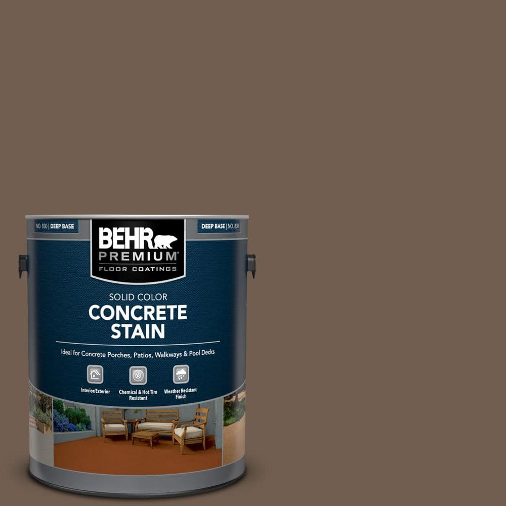 BEHR PREMIUM 1 gal. #PFC-35 Rich Brown Solid Color Flat Interior/Exterior Concrete Stain
