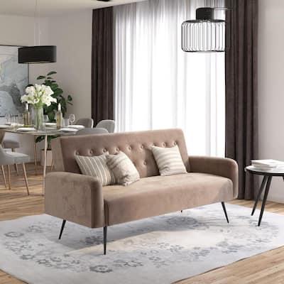 Stevie Convertible Sofa Bed Futon in Pink Velvet