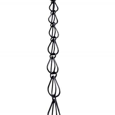 8-1/2 ft. L Monarch Black Powder Coated Aluminum Teardrop Rain Chain