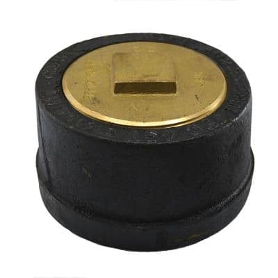4 in. Service Weight Cast Iron Push-On Cleanout Less Gasket with Raised Head Plug for DWV - 3 in. H