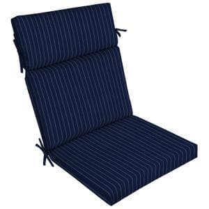 21 in. x 24 in. Dining Chair Cushion in Navy Woven Stripe