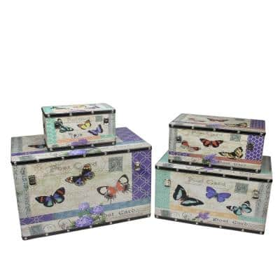 14 in. to 27.5 in. Wooden Garden Style Butterfly Decorative Storage Boxes (Set of 4)