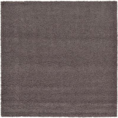 Solid Shag Graphite Gray 8 ft. x 8 ft. Square Area Rug