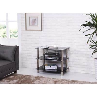 28 in. Black Glass TV Stand Fits TVs Up to 42 in. with Built-In Storage