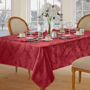 60 in. W x 120 in. L Red Barcelona Damask Fabric Tablecloth