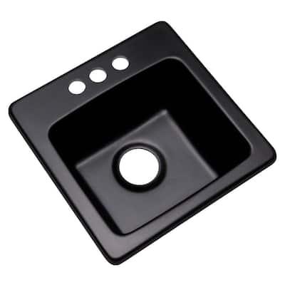 Westminster Black Granite Composite 16 in. 3-Hole Dual Mount Bar Sink