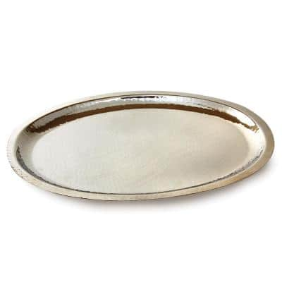 Hammered Stainless Steel Oval Tray