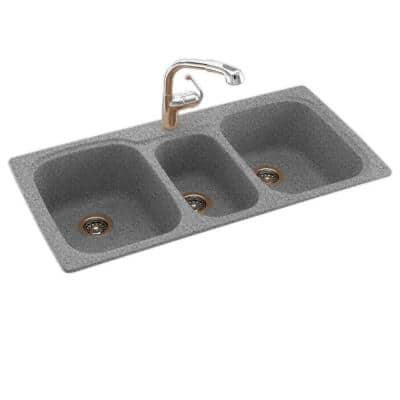 Swan Drop In Undermount Solid Surface 44 In 1 Hole 40 20 40 Triple Bowl Kitchen Sink In Gray Granite Ks04422tb 042 The Home Depot