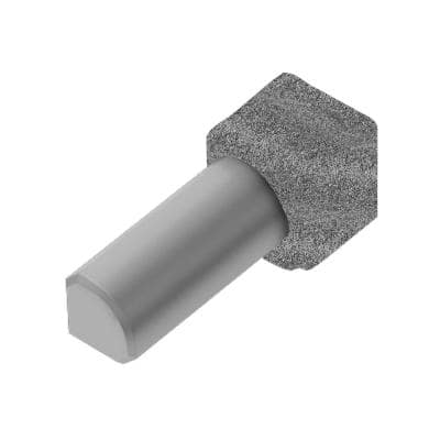 Rondec Pewter 7/16 in. x 1 in. Color-Coated Aluminum Tile Edging Trim 90-Degree Inside Corner