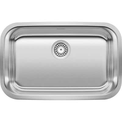 STELLAR Undermount Stainless Steel 28 in. Single Bowl ADA Kitchen Sink