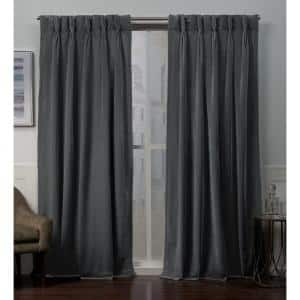 Velvet Soft Grey Heavyweight 27 in. W x 108 in. L Pinch Pleat Top, Curtain Panel (Set of 2)