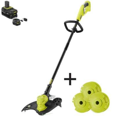 ONE+ 18V 13 in. Cordless Battery String Trimmer/Edger with Extra 3-Pack of Spools, 4.0 Ah Battery and Charger