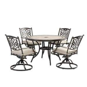 5-Piece Outdoor Patio Dining Set with Beige Cushioned Aluminum Swivel Chair and 46 in. Round Mosaic Porcelain Table