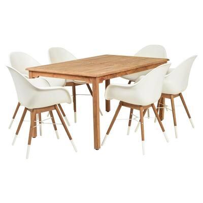 Amazonia Charlotte 7-Piece Wood Rectangular Outdoor Dining Set