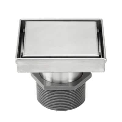 Shower Square Linear Drain 4 in. Brushed 304 Stainless Steel 2-sided Reversible Tile Insert Grate