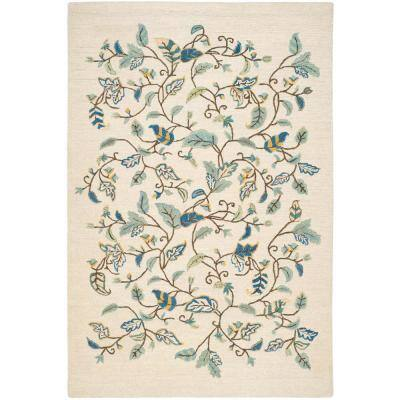 Martha Stewart Colonial Blue 4 ft. x 6 ft. Floral Area Rug