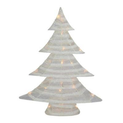 24.5 in. Battery Operated White and Silver Glittered LED Lighted Christmas Tree Table Top Decoration
