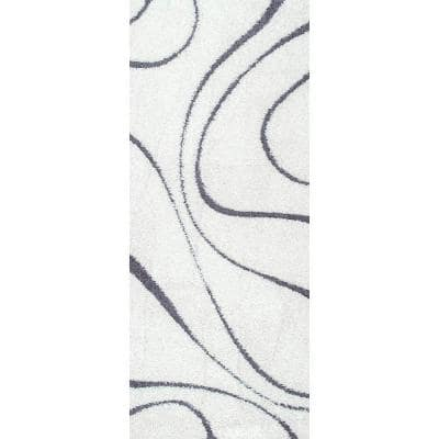 Carolyn Contemporary Curves Shag White 3 ft. x 6 ft. Runner