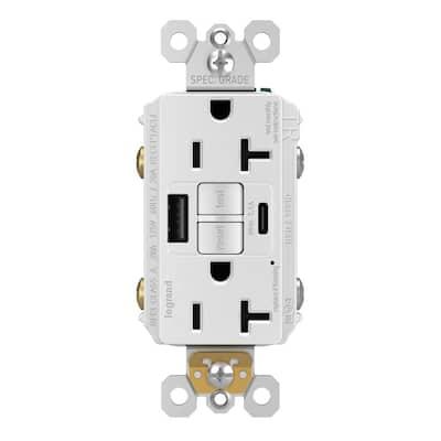 radiant 20 Amp 125-Volt Tamper Resistant Self-Test GFCI Duplex Outlet with Type A/C USB, White