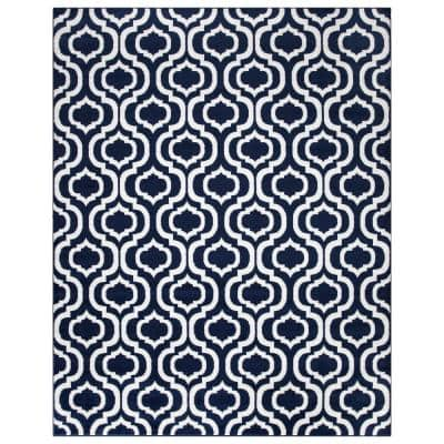Jasmin Collection Moroccan Trellis Design Navy and Ivory 7 ft. 8 in. x 9 ft. 8 in. Area Rug