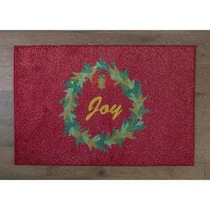 Wreath Red 31 in. x 49 in. Indoor Holiday Scatter