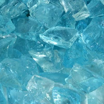 1/2 in. to 3/4 in. 10 lbs. Blue Teal Lagoon Crushed Fire Glass for Indoor and Outdoor Fire Pits or Fireplaces
