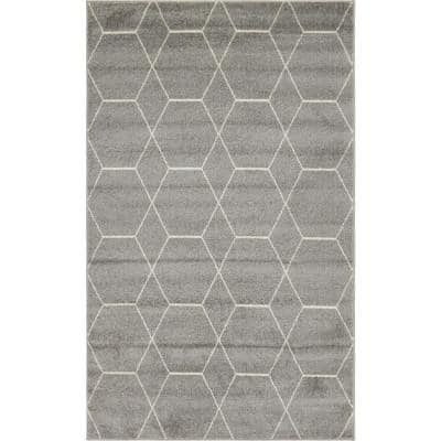 Trellis Frieze Dark Gray/Ivory 10 ft. x 14 ft. Geometric Area Rug