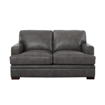 Georgia 68 in. Gray Leather 2-Seater Loveseat with Removable Cushions