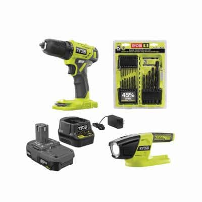 ONE+ 18V Cordless 3/8 in. Drill/Driver Kit w/ 1.5 Ah Battery, Charger, LED Light, & Black Oxide Drill Bit Set (21-Piece)