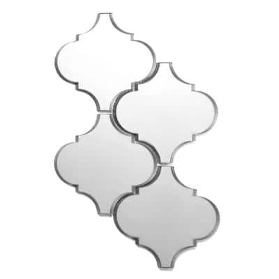 Reflections Silver Big Lantern Arabesque Mosaic 5 in. x 5 in. Glass Mirror Mesh Mounted Wall Tile (0.5 Sq.Ft)