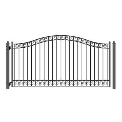Dublin Style 14 ft. x 6 ft. Black Steel Single Swing Driveway Fence Gate