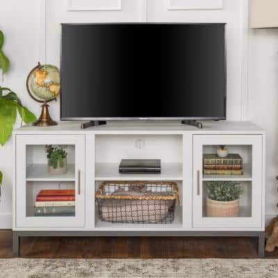 Avenue 52 in. White MDF TV Stand 55 in. with Glass Doors