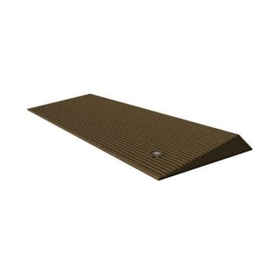 TRANSITIONS Angled Entry Door Threshold Mat, Brown, Rubber, 14 in. L x 40 in. W x 1.5 in. H