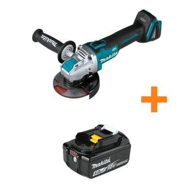 18-Volt LXT Brushless Cordless 4-1/2 in. / 5 in. X-LOCK Angle Grinder, Tool Only with Bonus 18-Volt 5.0Ah LXT Battery