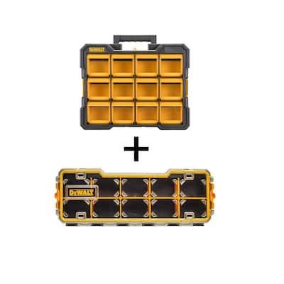 12-Compartment Small Parts Organizer Flip Bin with Bonus 10-Compartment Pro Small Parts Organizer
