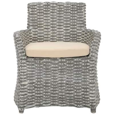 Cabana Grey White Wash Rattan Arm Chair