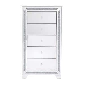 Timeless Home 5-Drawer in Clear Mirror Storage Cabinet 47 in. H x 25.5 in. W x 15.5 in. D